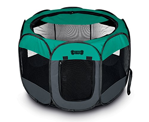 Ruff 'n Ruffus Portable Foldable Pet Playpen with Carrying Case & Collapsible Travel Bowl | Indoor / Outdoor use | Water resistant | Removable shade cover | Dogs / Cats / Rabbit | Available In 2 Sizes by Unleashed (Image #1)'