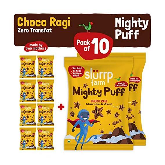 Slurrp Farm Healthy Snacks  for Kids- Mighty Puff, Choco Ragi Flavour, 20g (Pack of 10)