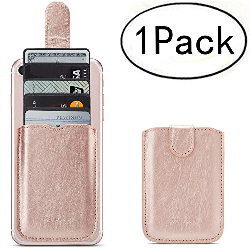 Phone Card Holder RFID Blocking Sleeve, Pu Leather Back Phone Wallet Stick-On Pull up 5 Card Holder Universally Pocket Covers Credit Cards Cash for iPhone/Android/Samsung/All Smartphones. (Rose) by Arokimi (Image #9)