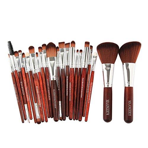 22Pcs Beauty Makeup Brushes Set Cosmetic Powder Blush Liner Lip Make Up Brush Tools brown silver-22pcs Hood Liner Acrylic