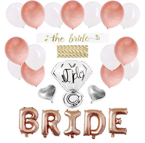 Bachelorette Party Decorations Pack - Rose Gold Party Supply Kit with Rose Gold, White Pearl and Silver Heart Balloons + Rose Gold Straws + The Bride Sash + Bride Foil Banner and Diamond Ring Balloon by Party Simple
