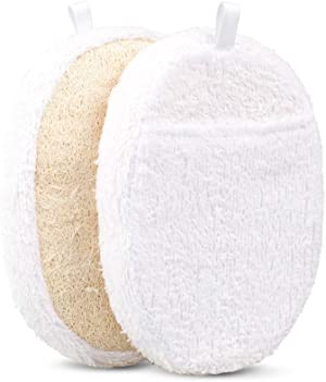 Exfoliating Loofah Pads, 2 Packs Natural Luffa Material Loofah Sponge Shower Body Scruber for Men/Women Bath Spa and Shower