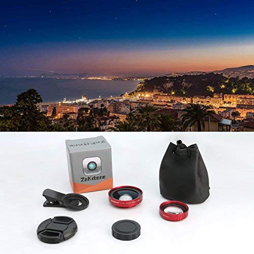 ZaKitane 2 in 1 Camera Lens Kit, 0.5X Super Wide Angle Lens, 15X Macro Lens, Universal Clip-On Cell Phone Lens for iPhone X, 8, 8 Plus, 7, 7 Plus, Samsung, Most Smartphones