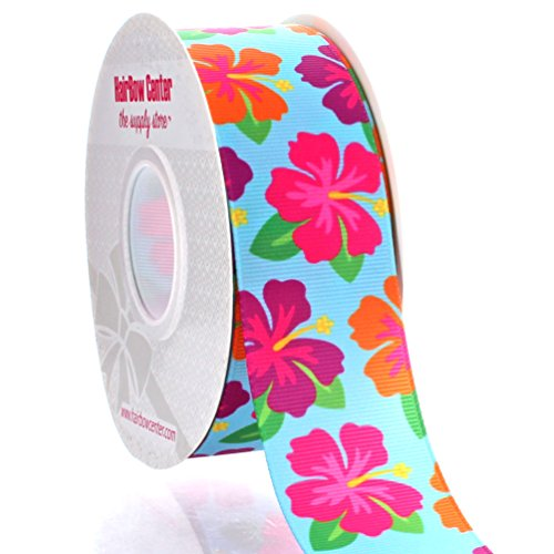 1.5'' Summer Hibiscus Grosgrain Ribbon 25yd by HairBow Center LLC
