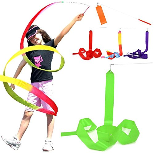 HATCHMATIC Nouvellement Conception 1pcs Danse Ruban Gym Gymnastique Rythmique Rod Art Ballet Fouet 4 m Streamer Twirling Rod: Rose, Taille