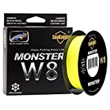 SeaKnight Monster W8 Braided Lines 8 Strands Weaves 500M/547Yards Super Smooth PE Braided Multifilament Fishing Lines for Sea Fishing Yellow 80LB Review