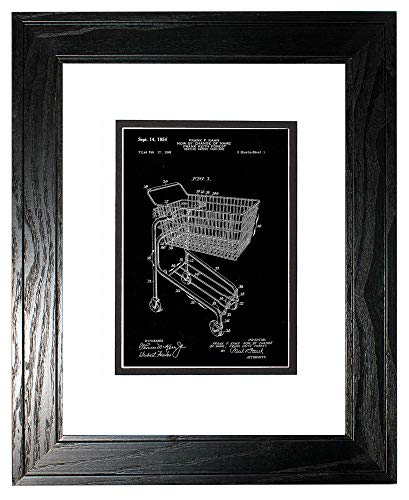 Shopping Cart Patent Art Black Matte Print in a Black Pine Wood Frame with a Double Mat (13