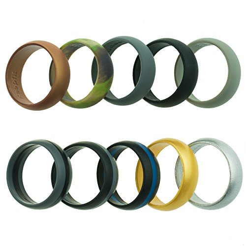 Silicone Wedding Ring for Men - 10 Pack - The Ultimate Silicone Wedding Band Set (Standard, 11 (22.22mm inner diam))