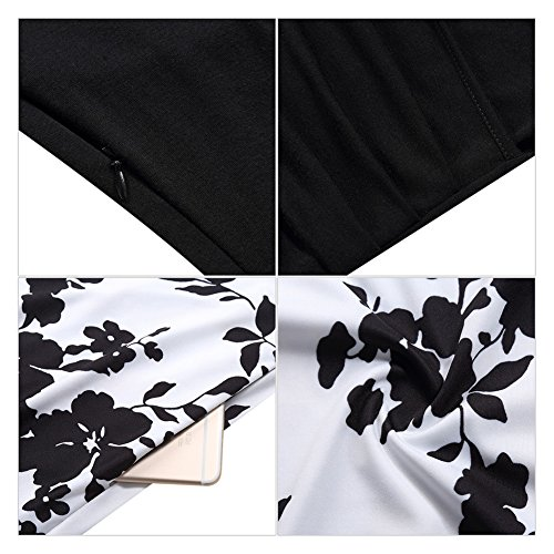 Line Dress Women With MISSKY Cocktail A Pockets Neck Floral 2XL Long Fit V Black Casual Sleeve Swing Flare White Midi Flower SznqS6Z