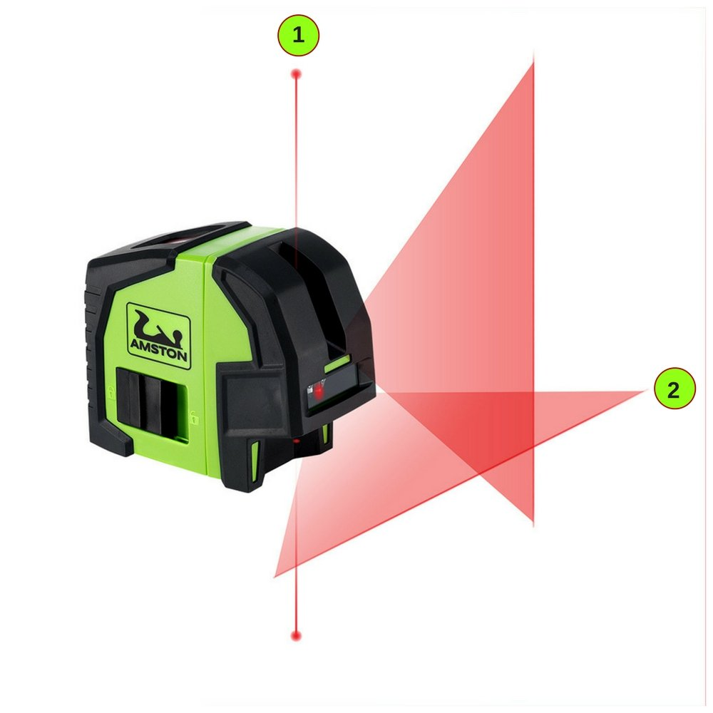 AMSTON Professional Self-Leveling Cross Line Laser Level PLUS Laser Plumb Bob Tool, Accessories Kit Includes Heavy-Duty Construction Clamp, Magnetic Mounting Bracket, & Carrying Pouch