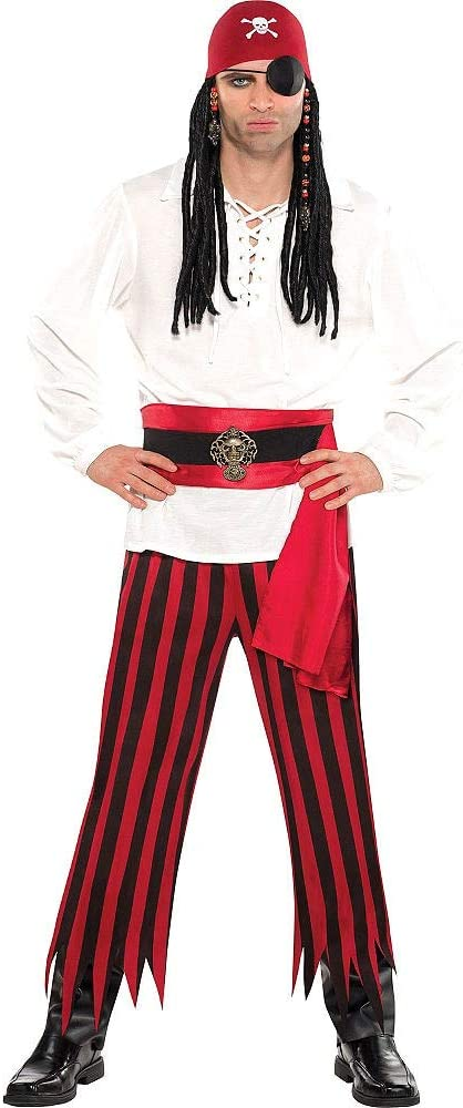 Amscan 843268 Black and Red Striped Pirate Pants, Adult Standard Size, 1 Pair: Toys & Games