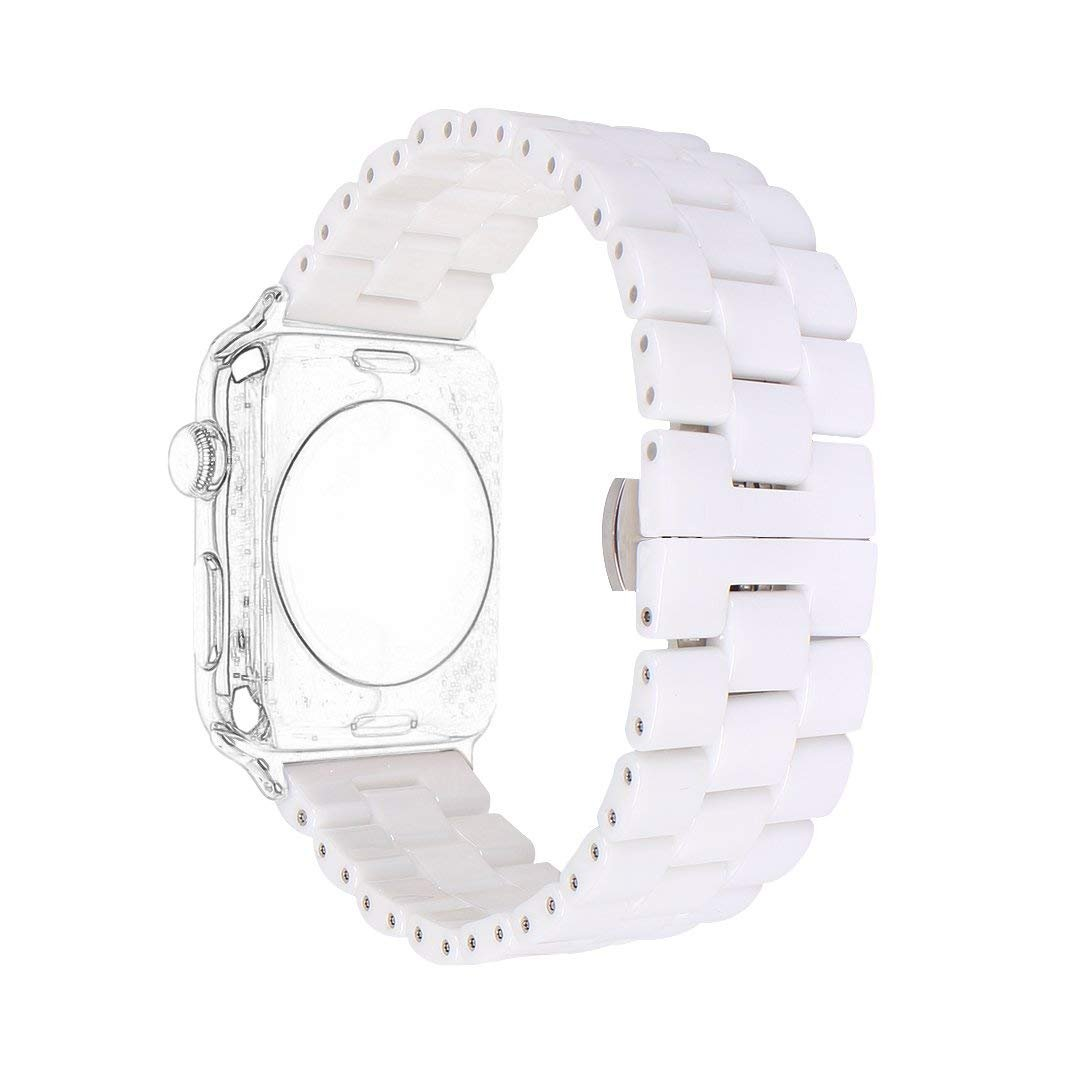 Ceramic Band Strap Fashionable Smartwatch Wristband Bracelet Compatible with 40mm Apple Watch Series 4, 38mm Apple Watch Series 3/2/1 (White,Style 2)