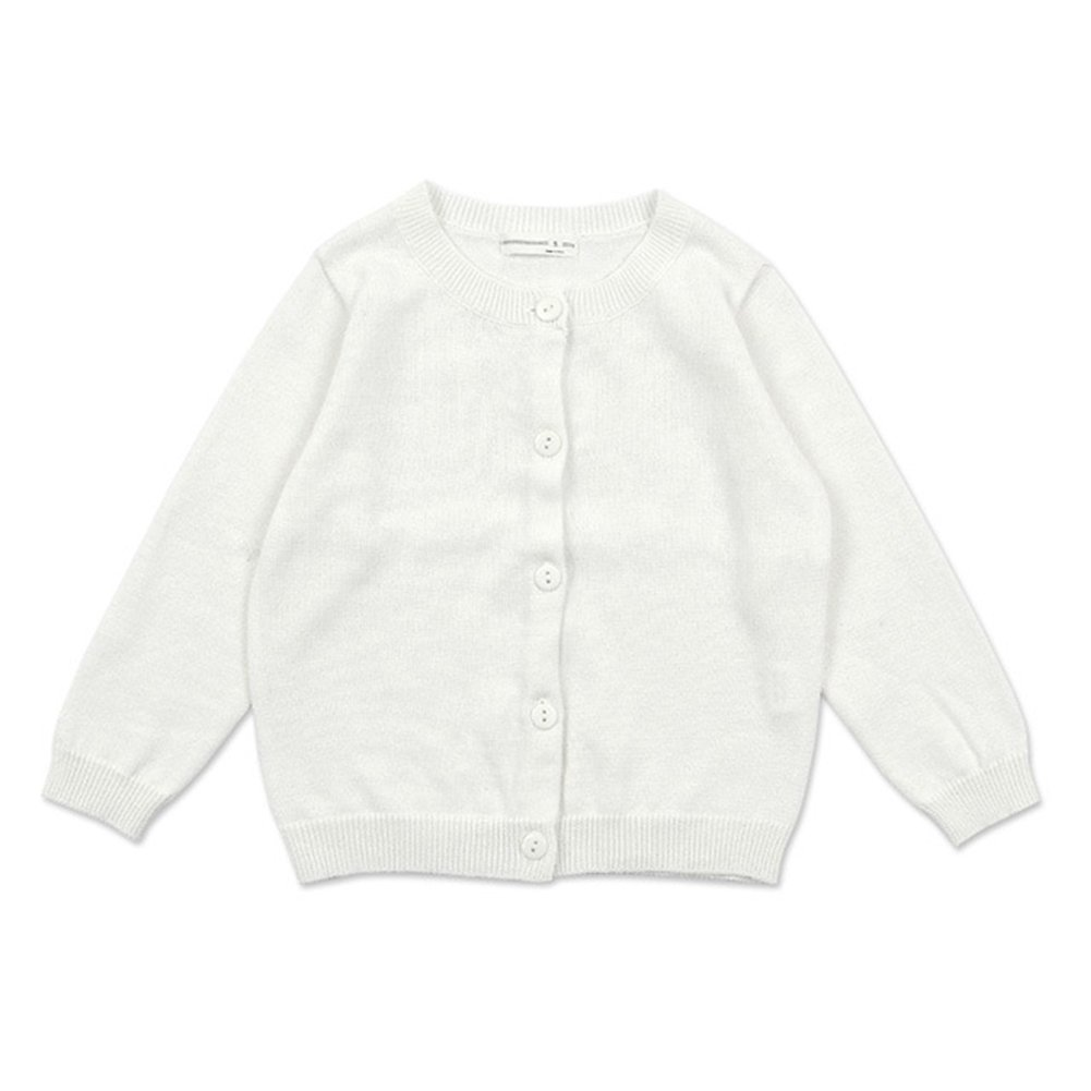 ZHUANNIAN Little Girls Solid Cardigan Sweaters (4-5years, White)