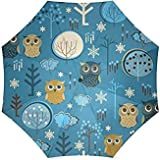 InterestPrint Owl Foldable Travel Umbrella (43 Inch)