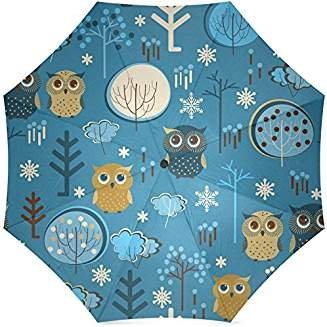 InterestPrint Owl Foldable Travel Umbrella (43 Inch)