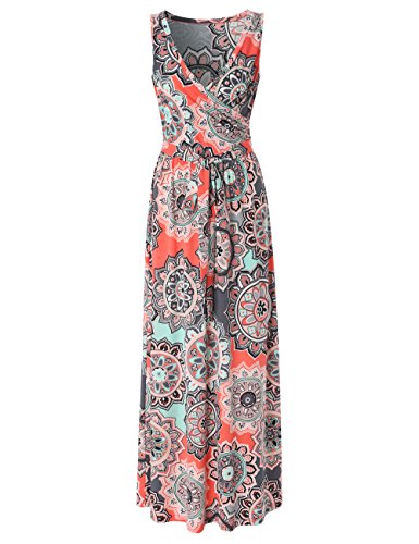 Dawiine Womens Bohemian Floral Printed Wrap Bodice Sleeveless Crossover Long Maxi Dress (Small, Multi (Canvas Womens Dress)