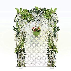 Dyna-Living 4Pcs 6.6Ft/Piece Artificial Flowers Silk Wisteria Garland Artificial Wisteria Vine Rattan Silk Hanging Flower for Home Garden Outdoor Ceremony Wedding Arch Floral Decor (White) 3