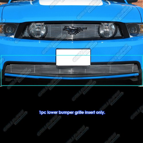 2012 Mustang Billet Grill - APS Compatible with 2010-2012 Mustang GT V8 Bumper Billet Grille Grill Insert S18-A75666F
