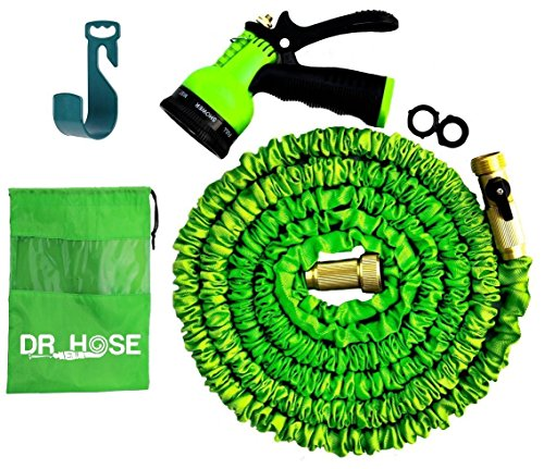 NEW 2017 DESIGN 50FT Expandable Hose Set with 8 Nozzle Sprayer & Hanger - Bundled in cloth bag- Extra Strength Inner Tube, Strongest Garden Hose - TRIPLE Latex Core- Shut - Usa Rubber In Meaning
