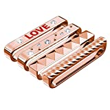 GELISHI Sparkles Metal iWatch Loops with Rhinestones Alphabet Inlay for 38mm Official Apple Watch Series 3 2 1 and Other Similar Watch - Easily Slide them On and Off Watch Band - Rose Gold