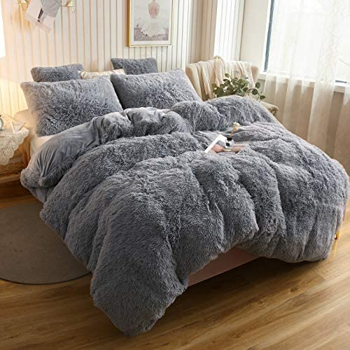 XeGe Plush Shaggy Duvet Cover Luxury Ultra Soft Crystal Velvet Bedding 1PC(1 Faux Fur Duvet Cover),Zipper Closure (Queen, Light Gray)