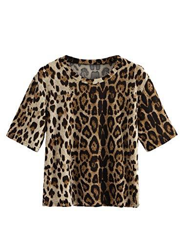 SweatyRocks Women's Casual Loose Short Sleeve Leopard Print T-Shirt Tops (Medium, ()