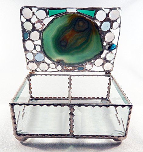 Polished Agate Beveled Glass Jewelry Box, Stained Glass Box, One-Of-a Kind