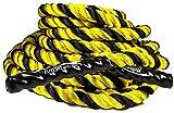 EliteSRS 30ft Battle Rope Kit 1.5' Fitness Workout - Sleeve - Anchor Straps (Yellow)