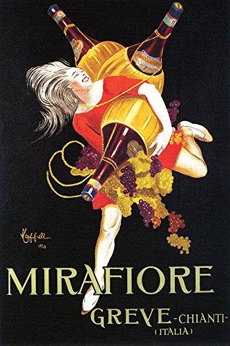 WONDERFULITEMS MIRAFIORE Greve Chianti Italian Wine Girl with Bottles Grapes Cappiello 12