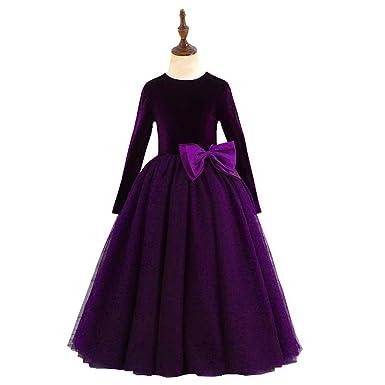 40365e592ffda Velvet Tulle First Communion Dresses Kids Long Sleeve Flower Girls Dresses  Fall Winter Purple 2