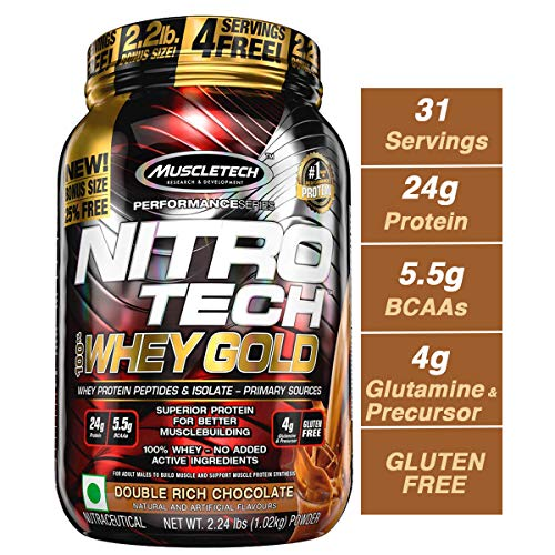 MuscleTech NitroTech Whey Gold, 100% Whey Protein Powder, Whey Isolate and Whey Peptides, Double Rich Chocolate, 2.2 Pound