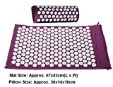 Massage Cushion Acupuncture Mat and Pillow Set - Relieve Your Stress, Back, Neck, and Sciatic Pain, Yoga Mat (99% cotton fabric, plastic spikes and foam core) Purple offers