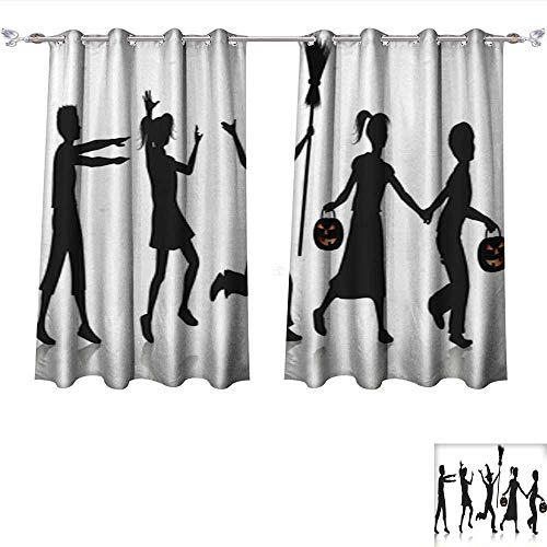 (Room Darkening Wide Curtains Children Playing on Halloween Night Thermal Insulated Room Darkening Window W55 x)