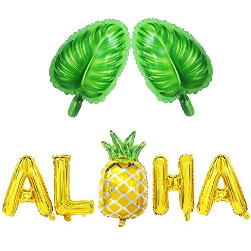 Aloha Balloon Banner | Aloha Balloon Letters | Aloha Balloons with Pineapple | Aloha Balloons Gold Pineapple | Aloha Mylar Balloons | Monstera Leaf Balloons Large | Hawaii Luau Aloha Party Decorations]()