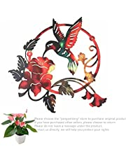 Round Metal Birds Wall Art Decor For Living Room, Hummingbird Flower Outdoor Metal Wall Art Circles
