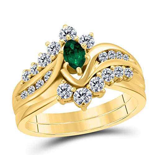 Gems and Jewels 1.00 Carat Forever Us Emerald 14k Yellow Gold Plated Alloy Prong Set Marquise Shape Engagement Bridal Set Ring