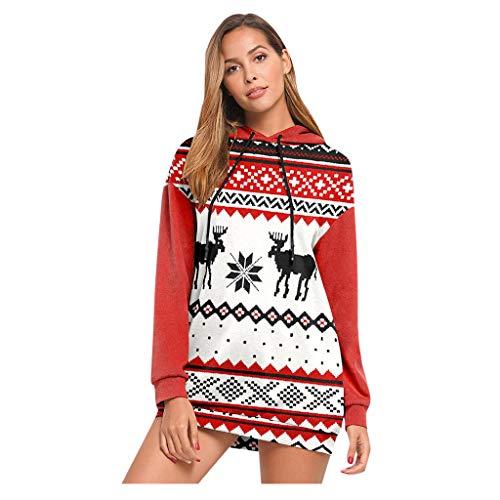 Lazzboy Women Hoodie Long Sleeve Jumper Christmas Print Casual Sweatshirt