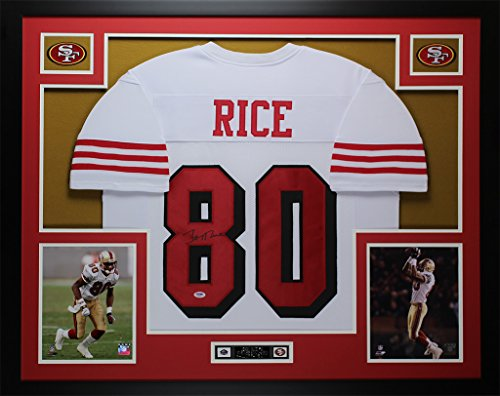 - Jerry Rice Autographed White 49ers Jersey - Beautifully Matted and Framed - Hand Signed By Jerry Rice and Certified Authentic by Auto PSA COA - Includes Certificate of Authenticity