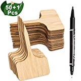 potted herb garden Whaline 50Pcs Bamboo Plant Labels with A Marker Pen, Eco-Friendly T-Type Wooden Plant Sign Tags Garden Markers for Seed Potted Herbs Flowers Vegetables (6 x 10 cm)