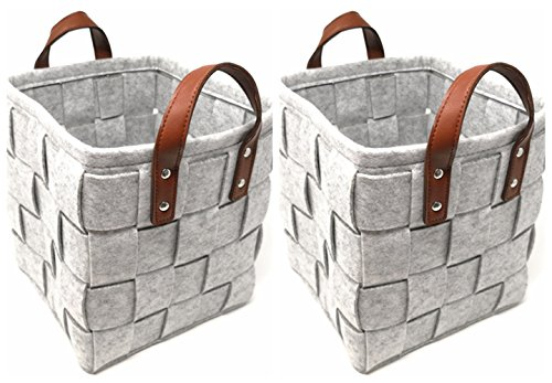 ECOHIP 2-Pack Small Felt Woven Storage Basket Decorative Cloth Bin Foldable Fabric Cube Closet Organizer Diaper (Decorative Caddy)