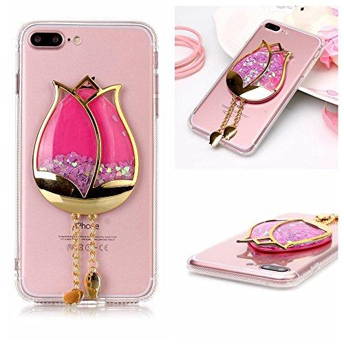 iPhone 7 Plus Case,iPhone 7 Plus Glitter Case,DAMONDY 3D Bling Cute Diamond Glitter Liquid Floating Quicksand Water Flowing Ultra Clear Soft TPU Case for iPhone 7 Plus (2016)-rose flower