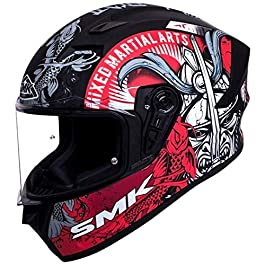 SMK Helmets – Stellar – Samurai – Black Grey Red – Pinlock Anti Fog Lens Fitted Single Clear Visor Full Face Helmet…