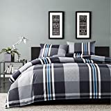 2pc Black Plaid Twin Size Duvet Cover Set, Cotton, Horizontal Vertical Stripes Squared Pattern Theme Lumberjack Bedding Checked Checkered Madras Tartan Cottage Woods