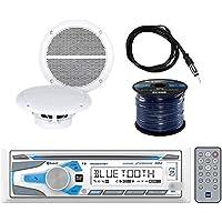 Dual Electronics Single DIN Marine CD AM/FM Bluetooth Receiver with Enrock Marine Dual 6.5 Inch Weather-Resistant Marine Speakers 60W Pair, Enrock 50 Foot 16 Gauge Speaker Wire & Enrock Marine Antenna