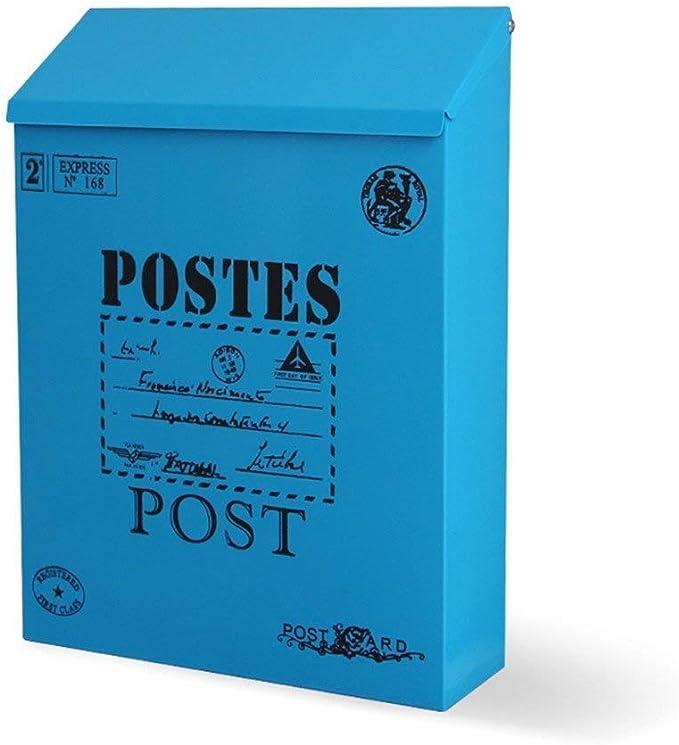 JPVGIA Buzón montado Pared Buzón De Correo Montado En La Pared Buzón De Acero Caja De Correo Bloqueable De La Hoja De Hierro Vintage Caja De Correo Exterior Impermeable (Color : Blue):