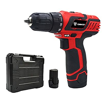 Limite Sales DEKO 10.8V/12V Household Lithium/ Li-ion Cordless Drill/Driver Cordless Screwdriver with Two Battery Packs and BMC Packing