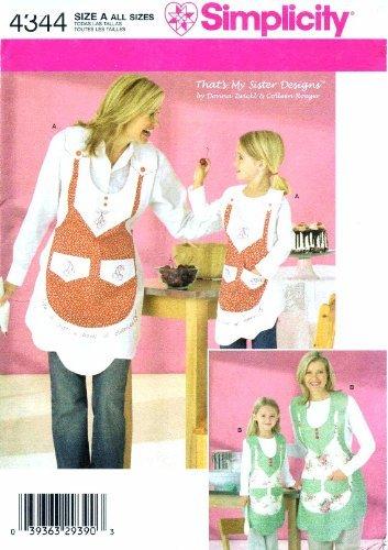 Simplicity 4344 Sewing Pattern Girls Womens Kitchen Aprons