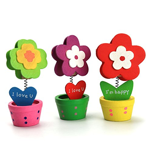 Flower Pot Place Card Holder (ZYN Memo Clip Holder, Pastoral Wooden Flower Pots for Pictures Card Paper Note Clip 12 Pcs Random)