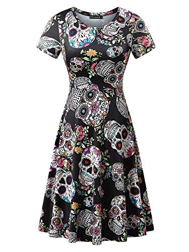 FENSACE Womens Short Sleeves Casual A-line Scary Halloween Costumes for Women -