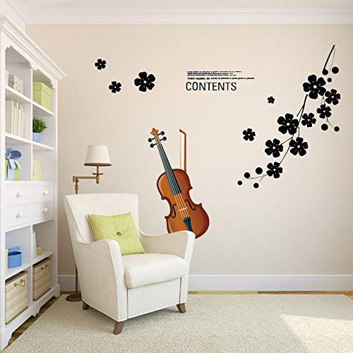 Wall Sticker SoungNerly Personality Creative Living Room Bedroom Wallpaper Sticker TV Background Wall Removable Romantic Warm Wallpaper Peach Violin